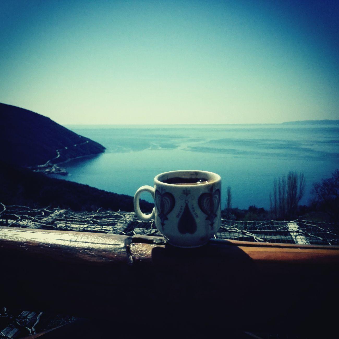 Greek Coffee  Enjoying Life Agio Oros Aegean Sea Blue Sky Greece Morning Relaxing Honor6