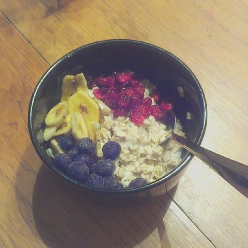 I made my #hubby and I both #powerbowls with #protein, #blueberries, dried #cranberries, and #dried #bananas. Plenty of #oats in there too. Fruit Foodie Healthy Blueberries Hubby Foodporn Bananas Oats Protein Foodstagram Dried Cranberries Powerbowls Powerbowl