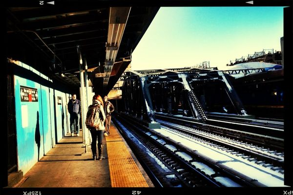 train station at MTA Subway - F Train by Amy Victoria