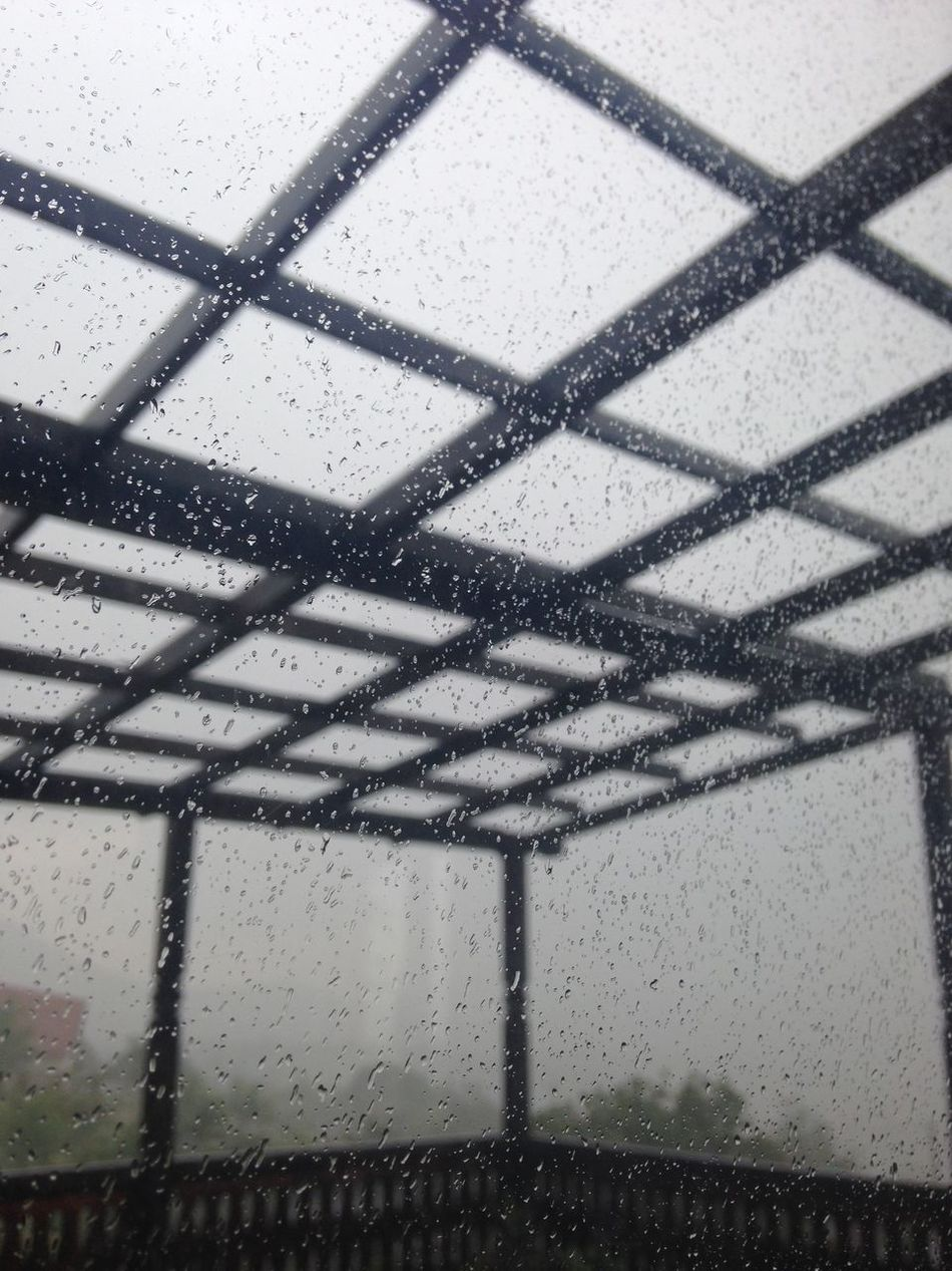 Close-up Day No People Outdoors Pattern Pergola Rain Rain On The Window Rainy Day Water