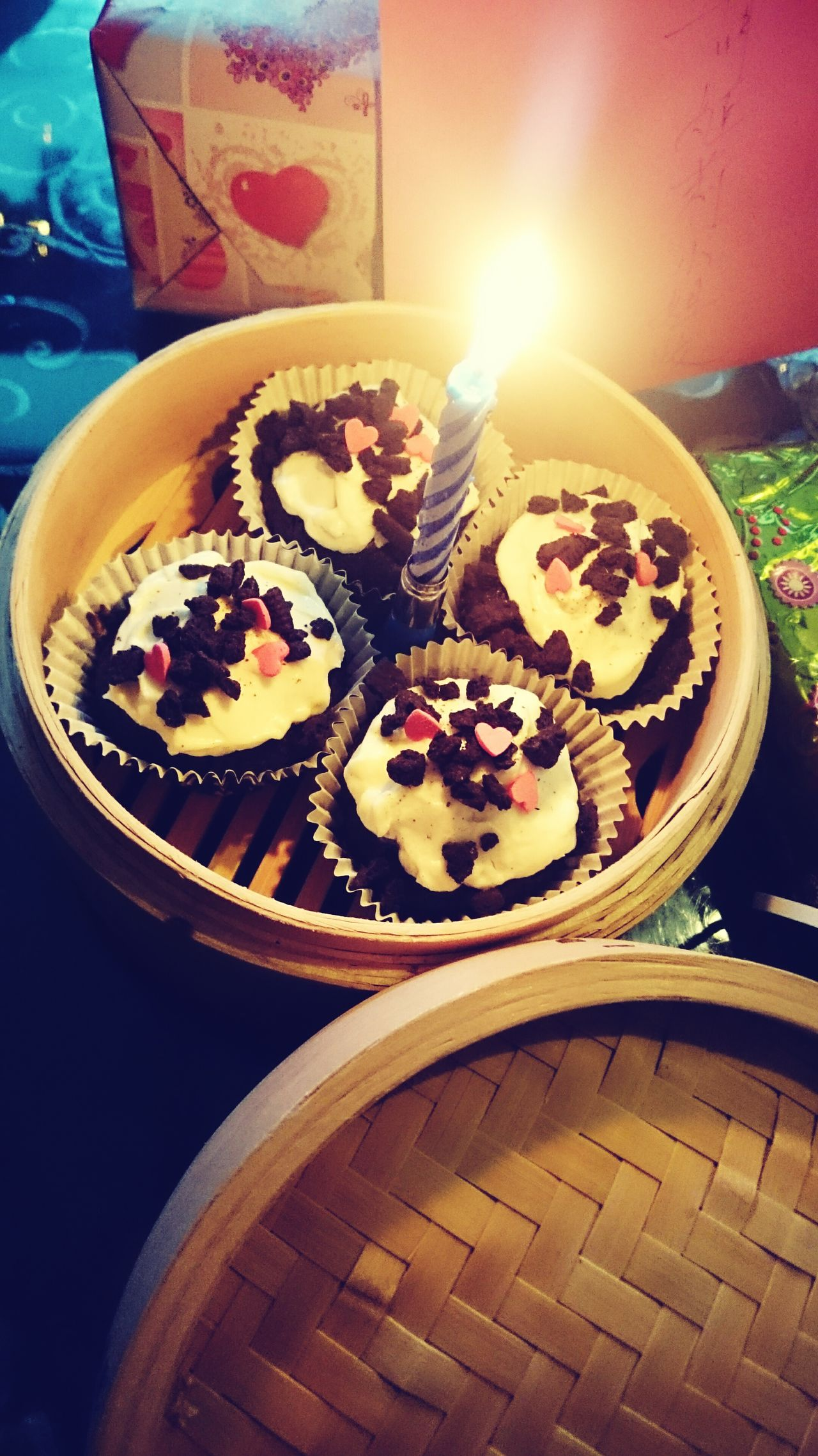 Cupcake Time in a Bamboo Basket .... Yummy :)... Showcase: January Happy Birthday