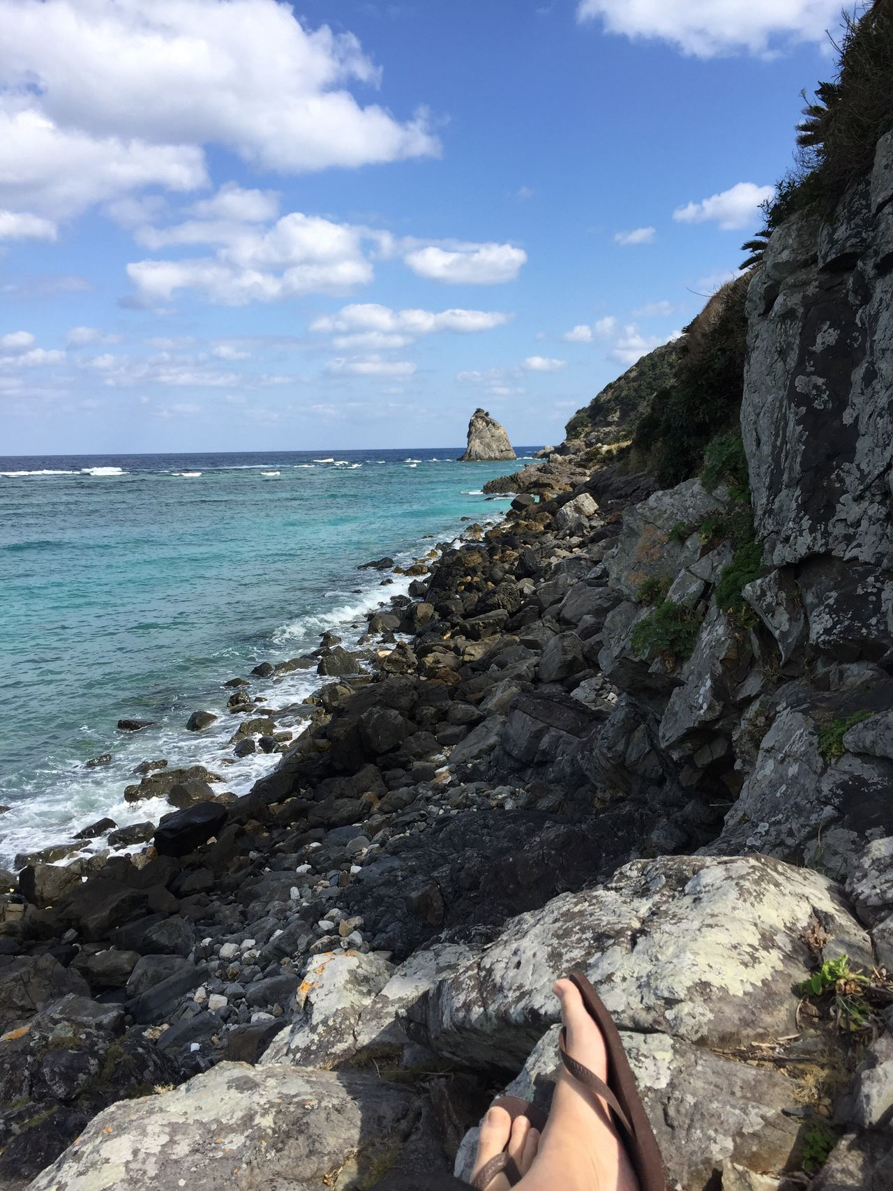 Sea Water Rock - Object Sky Nature One Person Scenics Beach Leisure Activity Day Outdoors Horizon Over Water Beauty In Nature Human Body Part People Human Leg Men Winter Sea Relaxation Lifestyles Travel Destinations Amami Island
