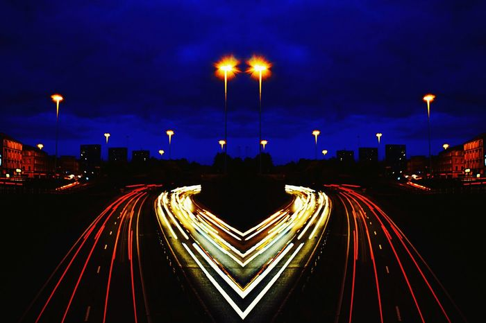 I Love My City Motorway Art Lines, Shapes And Curves Vivid Colours  Dark And Light Dusk In The City Abstract Urbanarchitecture Geometric Lines Charing Cross, Glasgow. City Centre busy busy bars, restaurants and cars.