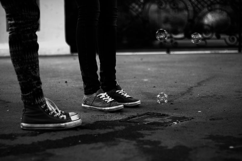 Blackandwhite Monochrome Outdoors People Shoes Soap Bubbles Standing Togetherness