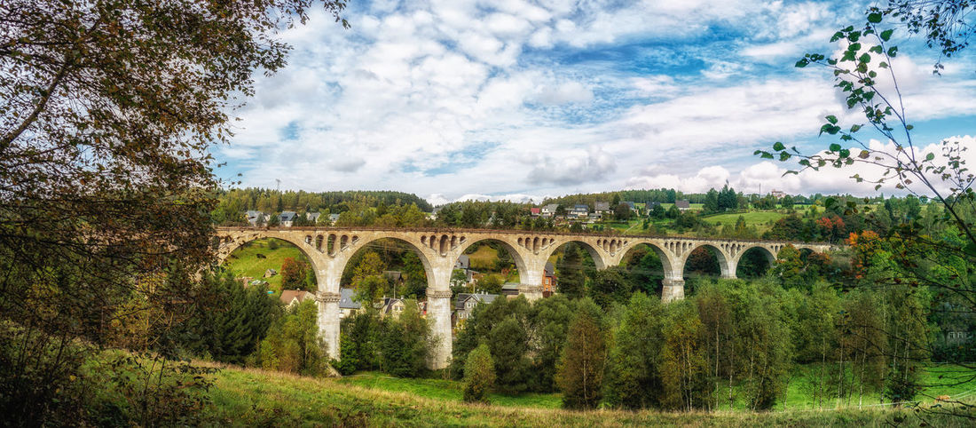 Autumn Panorama Tree Architecture Bridge Built Structure Cloud - Sky Defunct Lostplaces Nature No People Old Buildings Outdoors Sky Viaduct