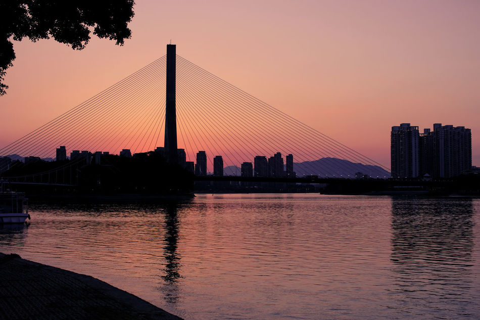 Architecture Bridge Bridge - Man Made Structure Building Exterior Built Structure City Clear Sky Connection Day Modern Nature No People Orange Color Outdoors Reflection River Silhouette Sky Skyscraper Sunset Suspension Bridge Tree Water