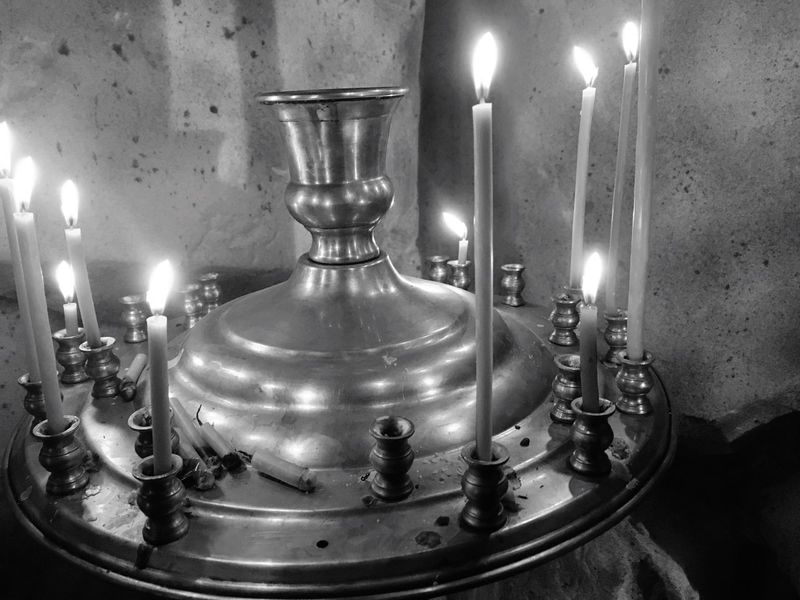 Burning Flame Candle Indoors  Heat - Temperature Candlestick Holder Lit Lighting Equipment Home Interior Metal No People Oil Lamp Spirituality Illuminated Close-up Tea Light Diya - Oil Lamp Day