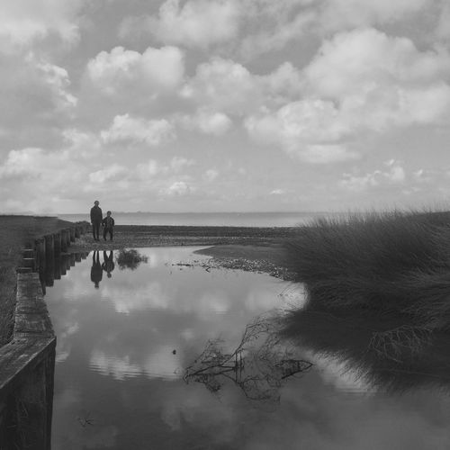 Friends. IPhoneography Blackandwhite Water Reflections Reflection Water Beach Snapseed Adventure Buddies Youth Of Today The Great Outdoors - 2016 EyeEm Awards