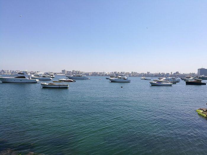 First Eyeem Photo The Great Outdoors - 2017 EyeEm Award Egypt Alexandria Alexandria Egypt Sea Mediterranean Sea Yachts Yachts At Anchor Cityscape Sky Clear Sky Boats⛵️ Sunny Day No Filter