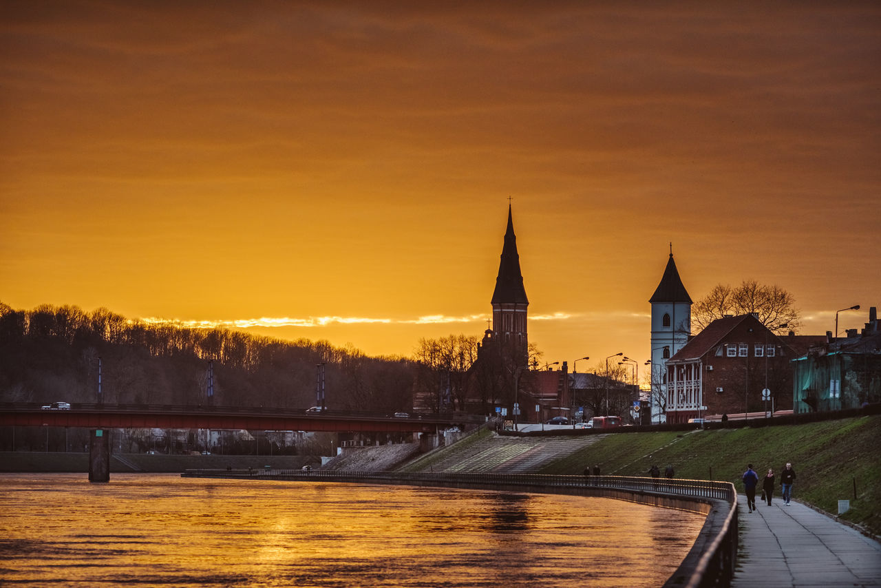 Sunset | Kaunas Architecture Bridge - Man Made Structure Building Exterior Built Structure City Cityscape Clock Tower Dusk History Illuminated Night Outdoors Politics And Government Sky Sunset Tower Travel Destinations Water
