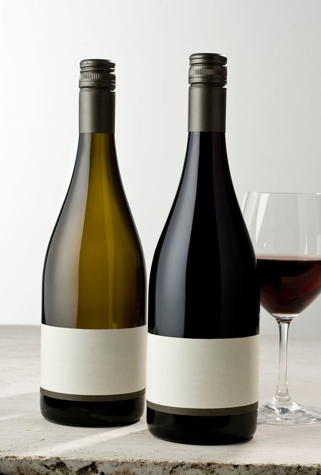 Wine bottles with glass Blank Labels Bottle Cabernet_sauvignon Chardonnay Full Glass No Vintage Product Photography Red Wine Still Life Stone Material Studio Photography Surface Table Top Photography Two Objects Vertical Composition White Wine Wine Wine Bottles