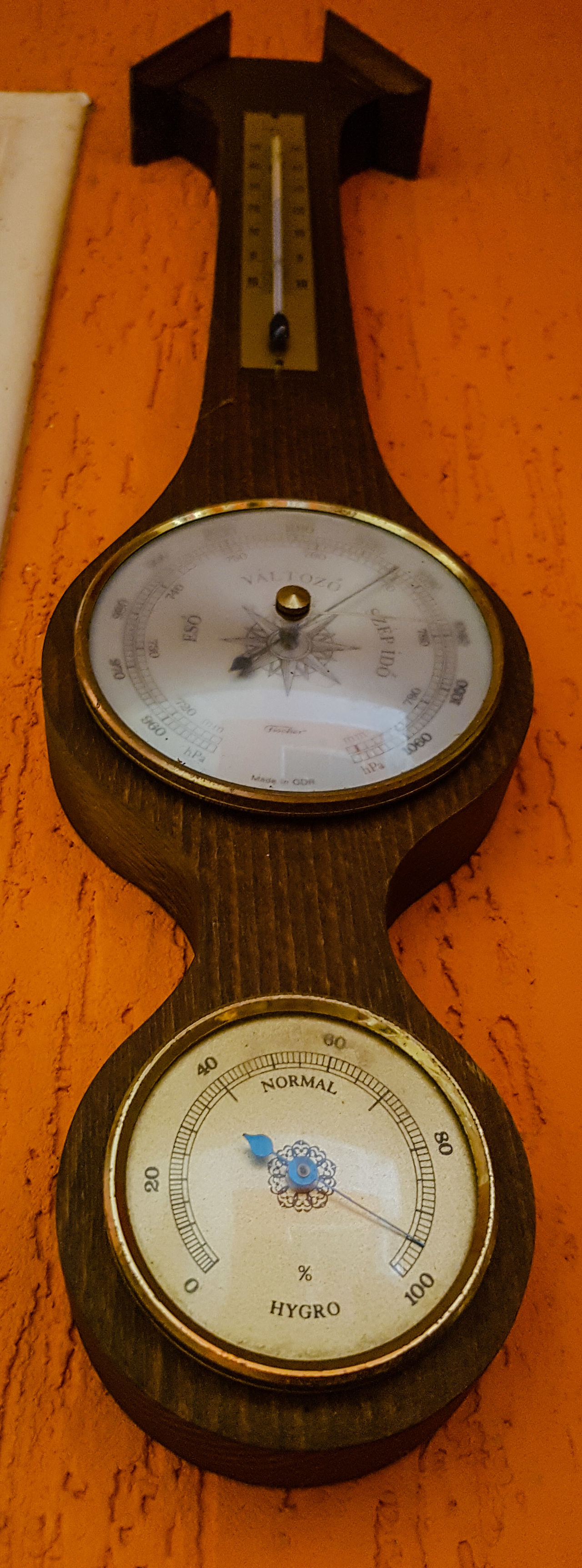 Old Hungarian thermometer/barometer/hygrometer Barometer Hygrometer Thermometer Hungarian Old Old-fashioned