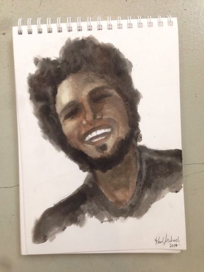 Kissed by the Muse - For My friend Aaron - birthday gift #boy #painting #drawing #art #designer #KARLMICHAEL #coffee #pencil #ink #aquarell Art Portrait Painting Karlmichael
