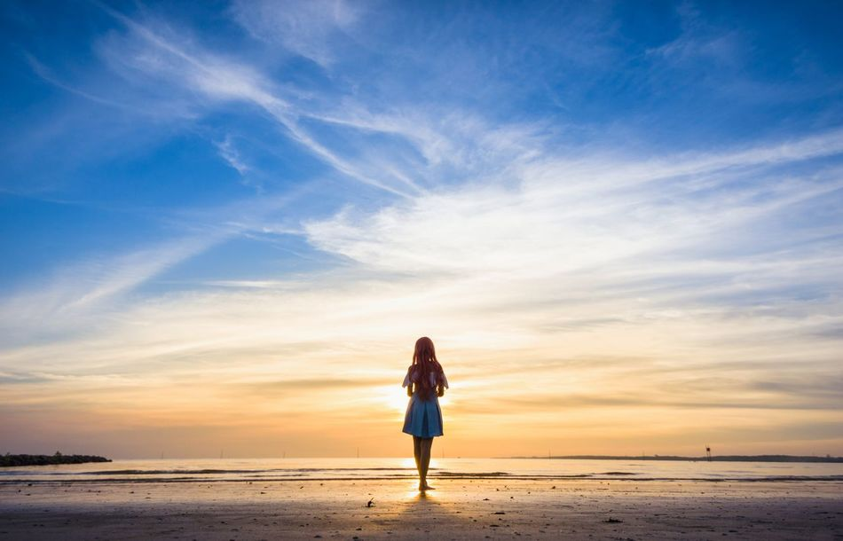 The rythm of farewell One Person Sky Travel Nature Full Length One Woman Only Outdoors Tranquil Scene Sunset Adventure Vacations People Cosplay Portrait Gundam Seed Lacus Clyne Beach Sunset Dusk Evening Seaside Coast Malaysia Sepang Asdgraphy