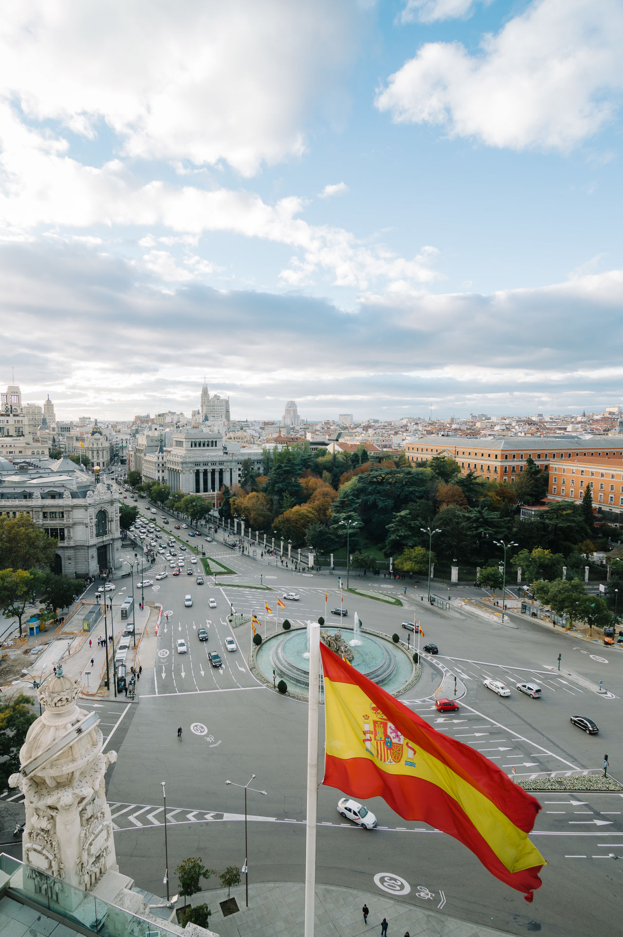 Madrid skyline from town hall at sunset Architecture Cibeles City City City Hall City Life City Street Cityscape Cloud - Sky Day Flag High Angle View Modern No People Outdoors Road Sky Skyline Skyscraper SPAIN Spanish Town Hall Travel Destinations Urban Skyline