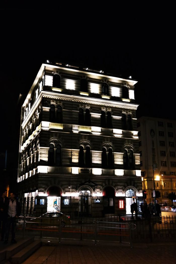 Illuminated building Karakoy Istanbul Architecture Building Exterior Built Structure City Illuminated Light Building Night Night Photography Outdoors Real People Sky