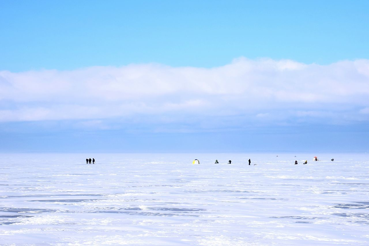 Blue Outdoors Sky Day Nature Sea Adventure Floating On Water Airshow Water Beauty In Nature Frozen People Fisherman Kronstadt Russia