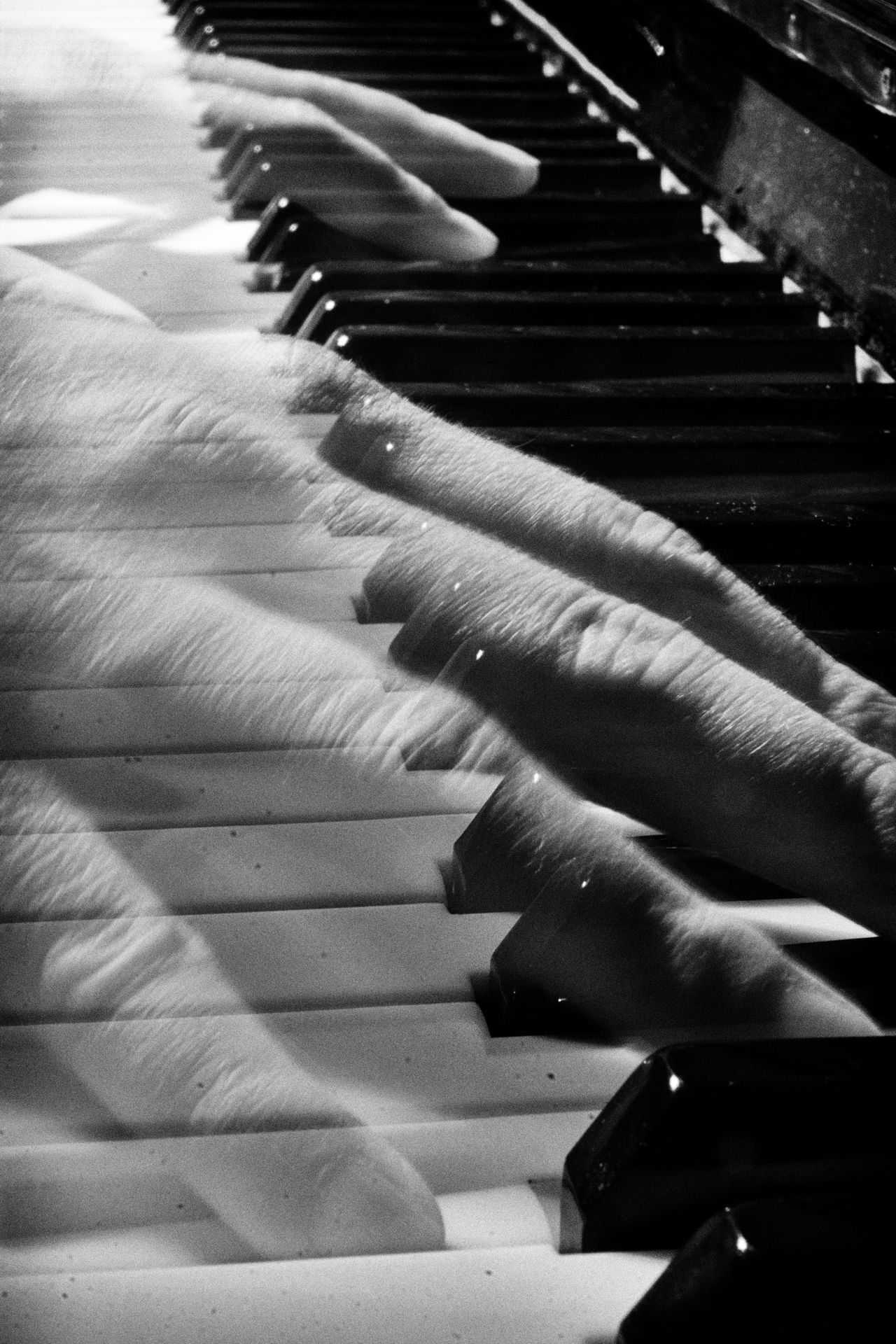 A series of three black-and-white photos of myself playing the piano, or at least pretending to. Black And White Close-up Fingers Human Hand Indoors  Musical Instrument Night Piano Piano Keys Piano Moments Transparent