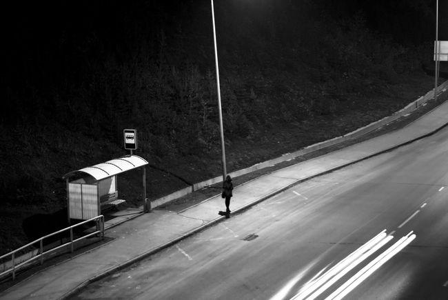 Night Black And White Silhouette Road Bus Stop Baw Light And Shadow EyeEm Best Edits EyeEm Best Shots