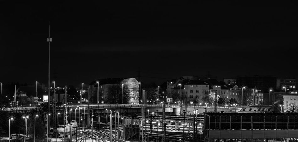 Berlin Black And White Blackandwhite Bridge Bw EyeEmNewHere Lichtenberg Lights And Shadows Nightphotography Rails Train Station Trains