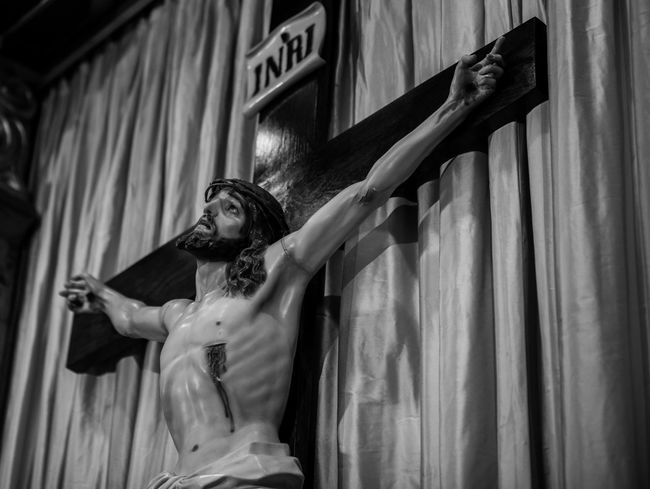 Adult Blackandwhite Photography Catholic Catholic Church Day Fujifilm_xseries Jesus Christ One Person Outdoors People Photographyisthemuse Place Of Worship Quiet Places Religious Art Religious Icons Sacred Sacred Places Sanctuary  Sculpture Spirituality Statue