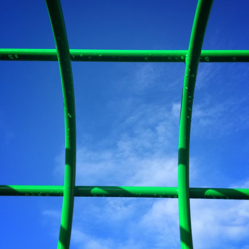 Blue Green Color No People Low Angle View Day Outdoors Clear Sky Close-up Nature Connection Sky Think Outside The Box Blue Sky Blue Sky Thinking