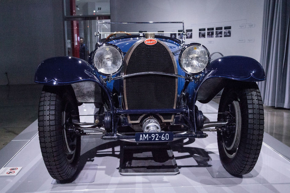 Los Angeles, CA, USA - March 4, 2017: Blue 1932 Bugatti Type 55 Super Sport at the Petersen Automotive Museum in Los Angeles, California, United States. Editorial only. 1932 Antique Automobile Bugatti Car Classic Car Old Car Petersen Automotive Museum Super Sport Type 55 Vehicle