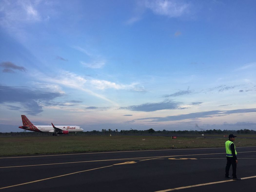 Lost In The Landscape Blue Sky Various Clouds Late Afternoon Sunset Batik Air Worker On The Road Airport Radin Inten II Airport Connected By Travel