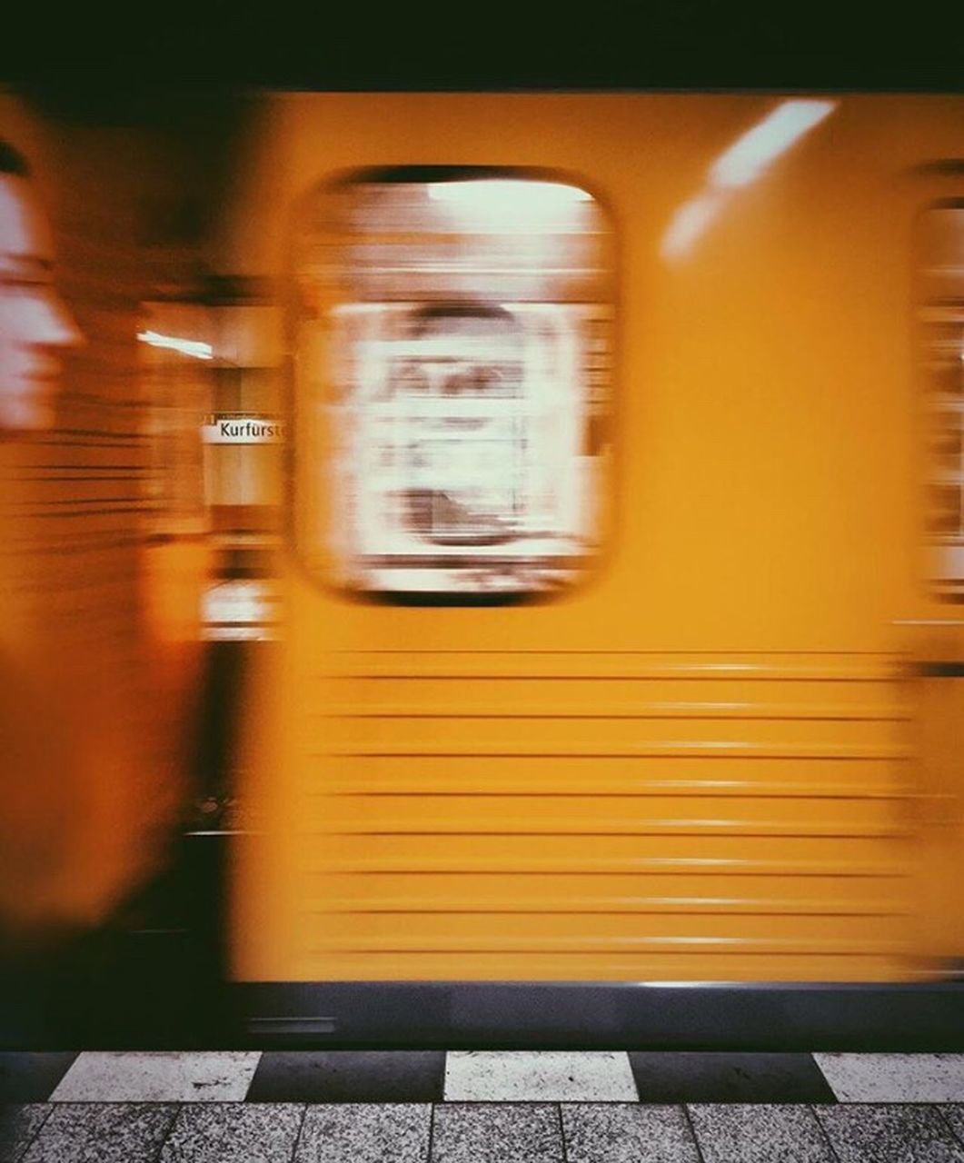 blurred motion, transportation, train - vehicle, public transportation, speed, mode of transport, rail transportation, motion, passenger train, railroad station platform, railroad station, day, outdoors, yellow, no people, subway train