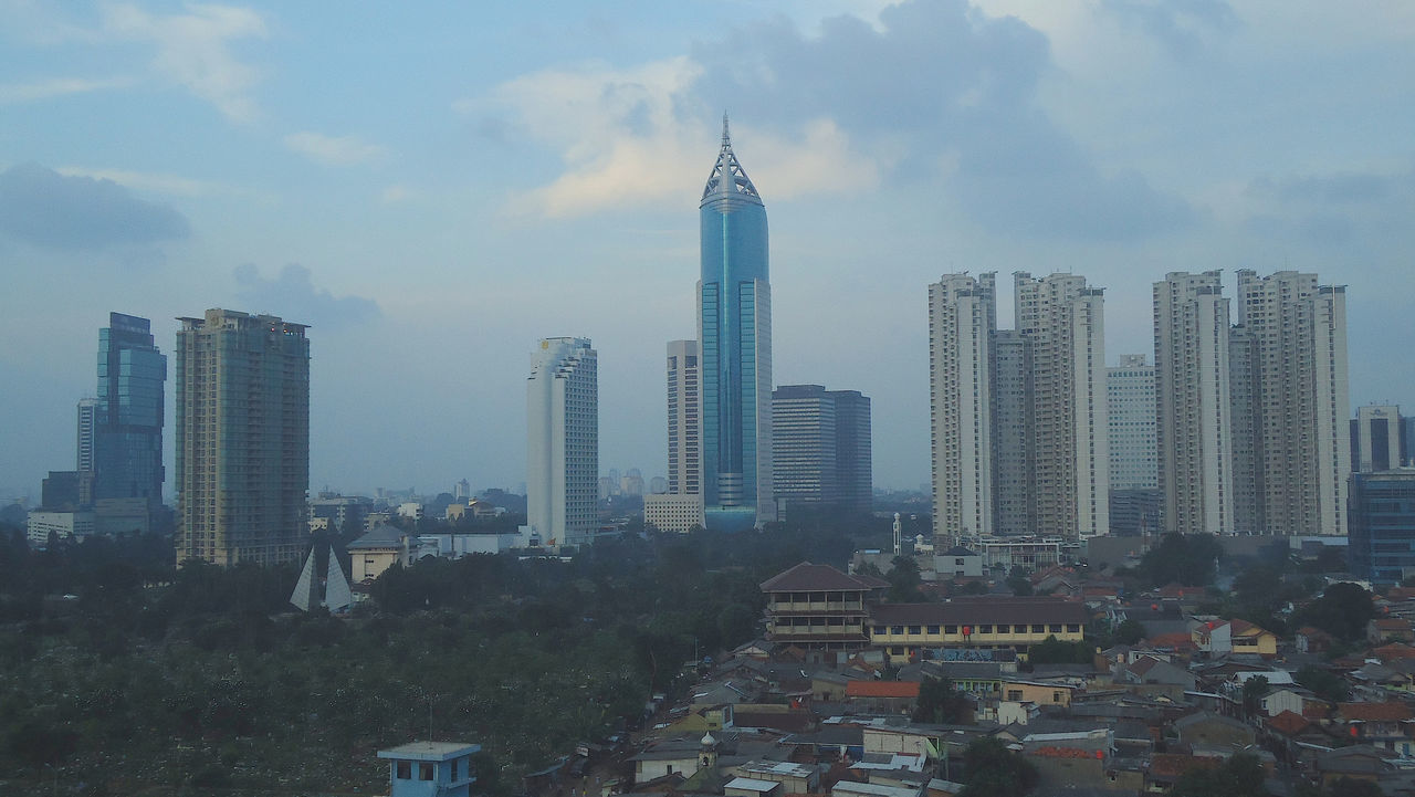 Jakarta Sudirman City View Architecture Building Exterior Built Structure City Cityscape Cloud - Sky Day Growth Modern No People Outdoors Sky Skyscraper Tower Travel Destinations Tree Urban Skyline View