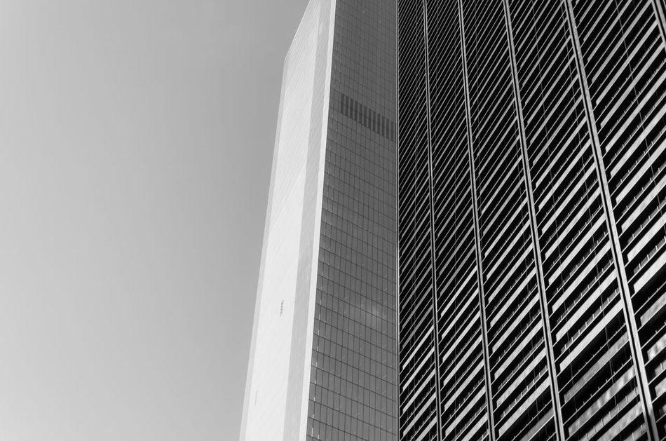 Abstract Architecture Blackandwhite Building Building Exterior Built Structure Capital Cities  City Clear Sky Engineering EyeEm In NYC 2015 Geometry Low Angle View Modern New York Skyscraper Tower Monochrome Photography