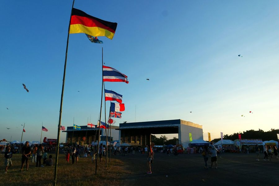 """""""The sky's the limit."""" PIHABF2016 Philippineinternationalhotairballoonfestival Hotairballoon Balloonfestph Pampanga Kite Flying Flags In The Wind  Flags Hello World Hanging Out Taking Photos Check This Out Enjoying Life Sunset Sunset Silhouettes People Watching People Photography Eyeem Philippines"""