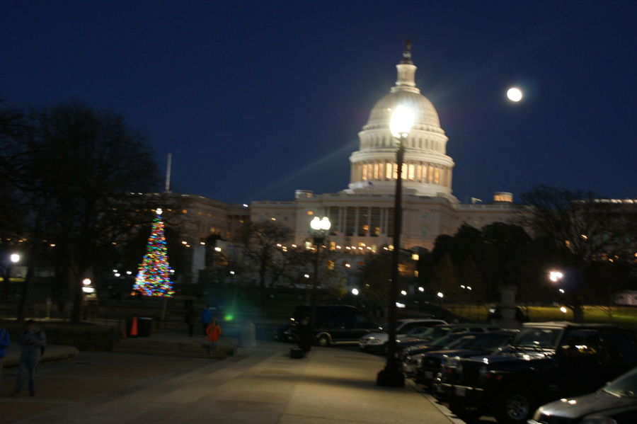 Architecture Built Structure Capitol Christmas City Dome Famous Place Full Moon Full Moon Illuminated Night Travel Destinations US Capitol Building