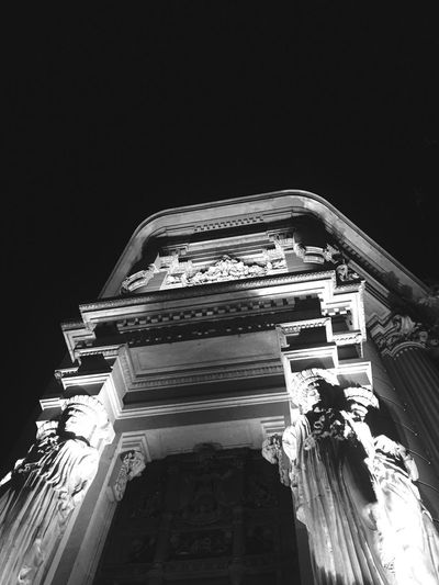 Low Angle View Architecture Statue Built Structure Sculpture Building Exterior Religion History No People Spirituality Outdoors Night Architectural Column Illuminated Sky