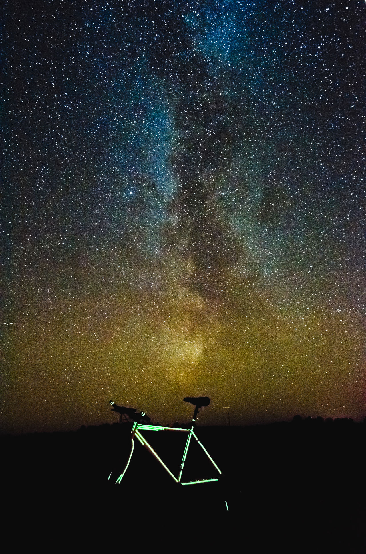 Milky way and glowing bike Alternative Energy Astronomy Beauty In Nature Constellation Galaxy Glow In The Dark Glowing Milky Way Nature Night No People Outdoors Scenics Sky Space Star - Space Star Field EyeEmNewHere