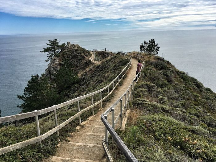 Sea Railing Tree Water High Angle View Scenics Tranquil Scene Horizon Over Water Cliff Sky Beauty In Nature Mountain Tranquility Travel Destinations Vacations Nature The Way Forward Non-urban Scene Elevated View