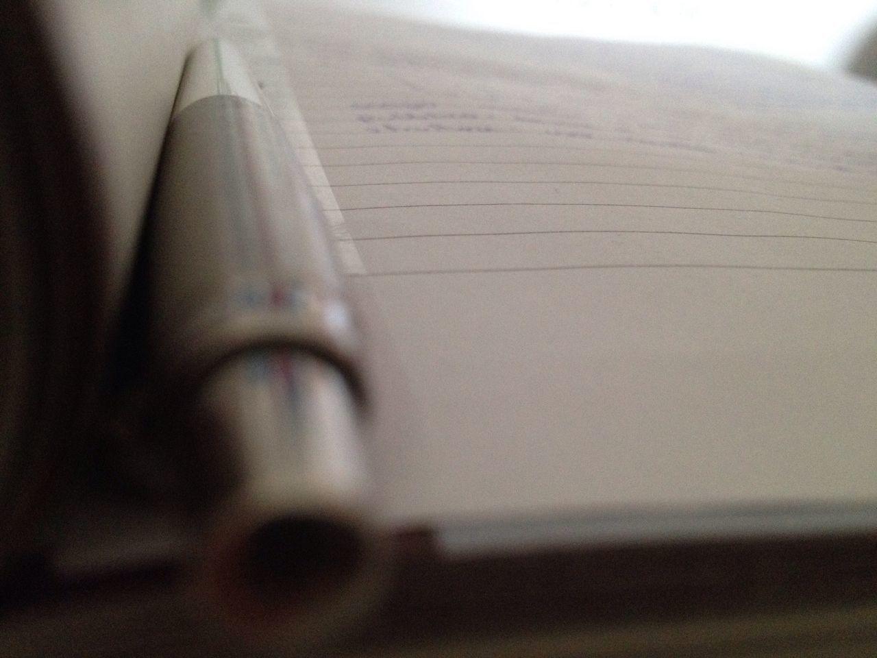 Pen Homework Paper Indoors  Prospective White Gray