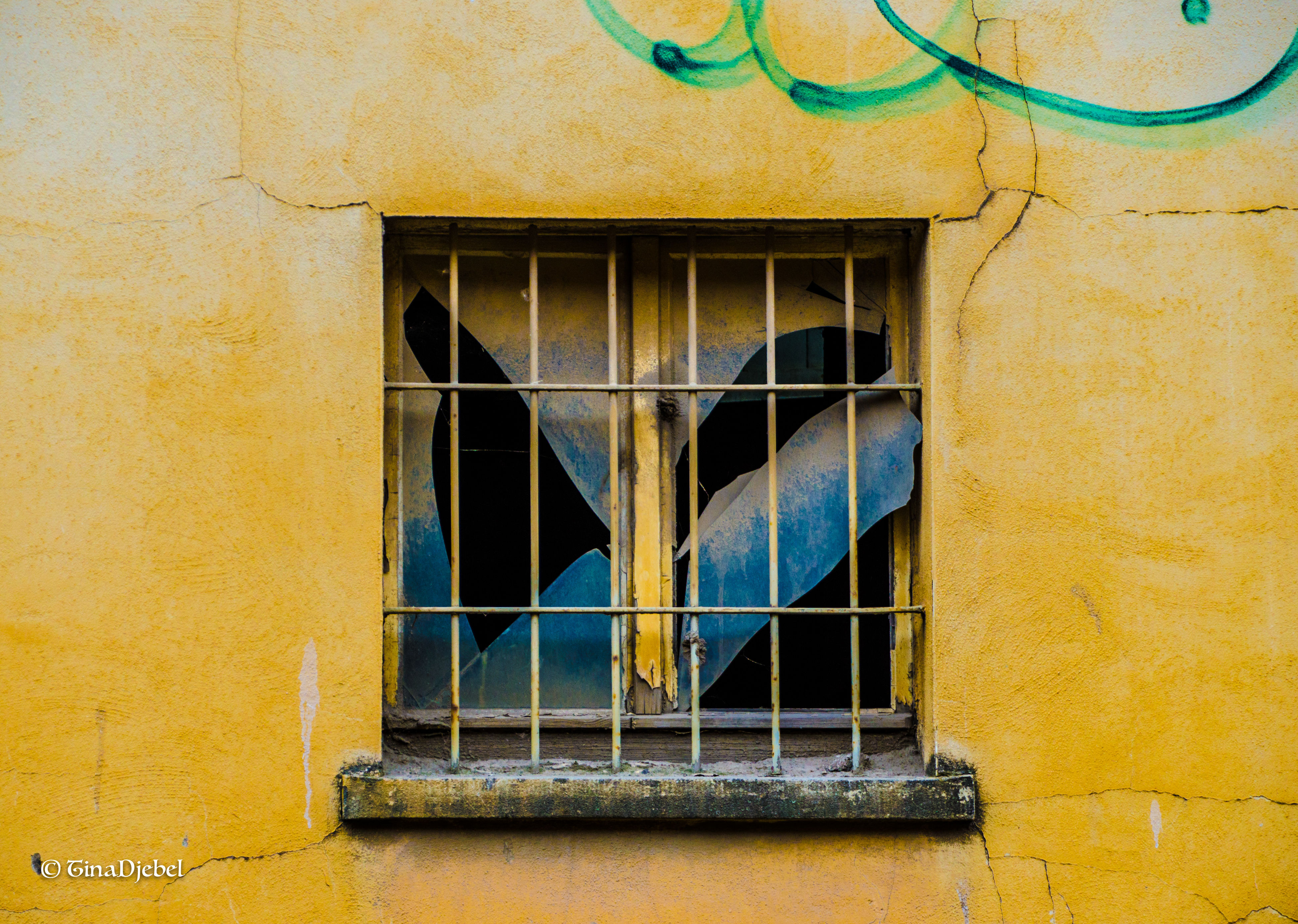 window, architecture, built structure, building exterior, close-up, yellow, day, outdoors, damaged, weathered, no people