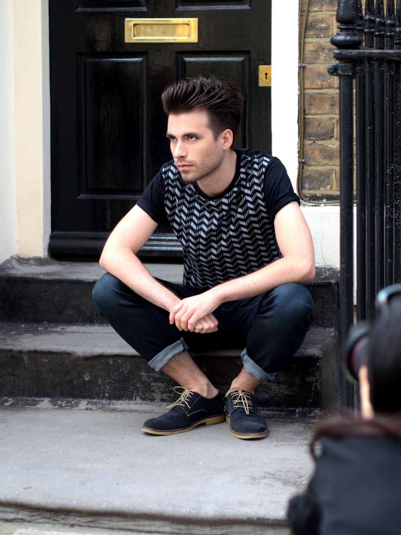 In the firing line Being Shot Black Door Background Casual Clothing City Street Letterbox Lifestyles LONDON❤ Male Model Shot By A Canon Sitting Sitting Outside Young Adult