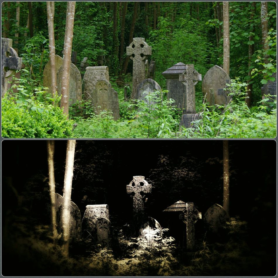 Relaxing Taking Photos Walking Around The Cemetery Bristol Uk Moonlight Effect Bottom Picture Top Original Picture