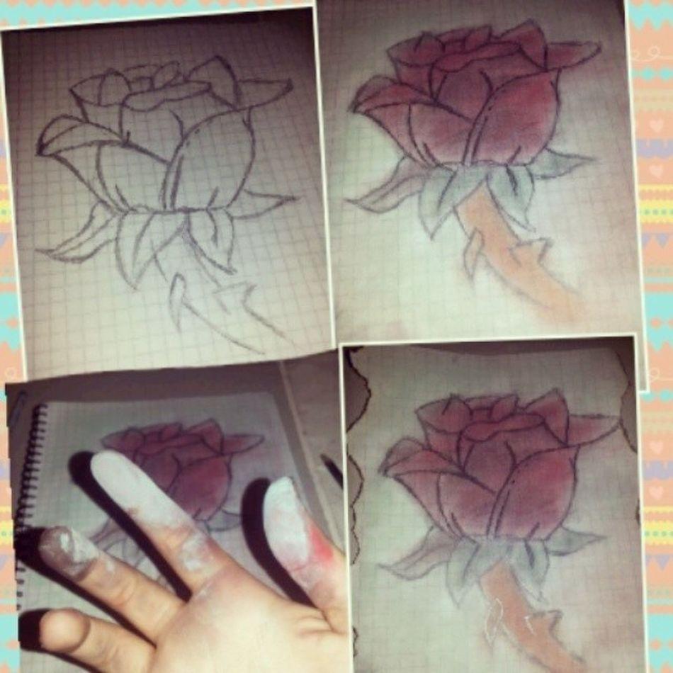 Aunque dibujo horrible igual me gusta Dibujo Rosa Deditos Sucios lapicespasteltermine♥