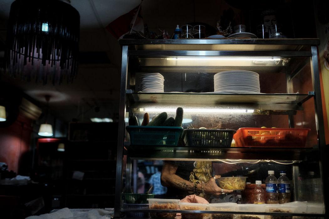 A local restaurant, Singapore. ASIA FUJIFILM X-T2 Arrangement Bakery Choice Close-up Food Food And Drink Freshness Fujifilm Illuminated Indoors  Indulgence Large Group Of Objects Night Ready-to-eat Refrigerator Retail  Shelf Sigapore Sweet Food Tatoo Variation