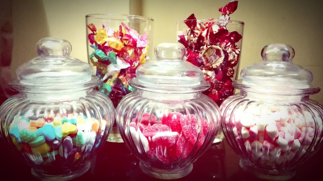 Shapes Jars  Celebration Indoors  Multi Colored No People Variation Jars  Choice Valentine's Day  Sweet Food Candy Hearts