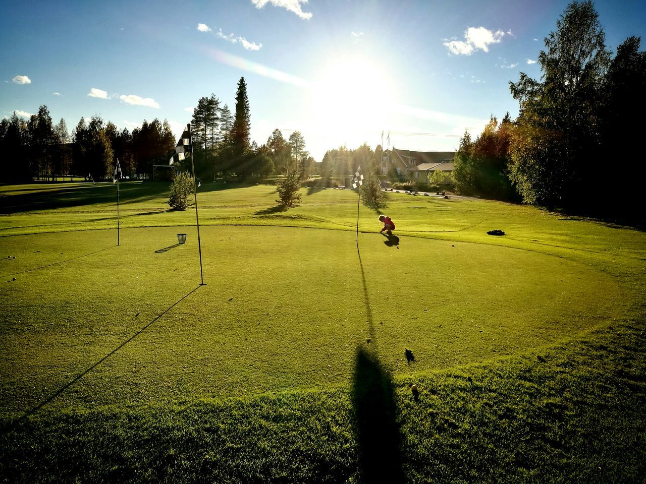 golf, golf course, tree, leisure activity, sport, green - golf course, grass, sunlight, taking a shot - sport, green color, playing, golfer, golf swing, sky, competition, playing field, nature, shadow, men, standing, outdoors, lifestyles, golf club, sportsman, day, one person, beauty in nature, people