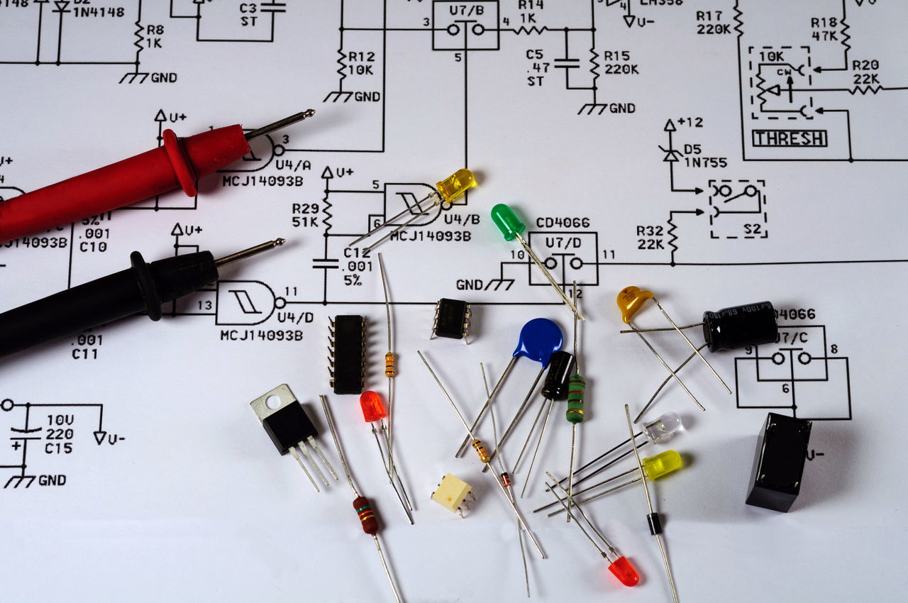 Engineering Electrical Schematic and Electronic Parts Capacitors Circuit Diagram Diodes Electrical Electronic Electronics  Engineering Meter - Instrument Of Measurement Parts Project Repair Resistors Schematic Technician Transistor