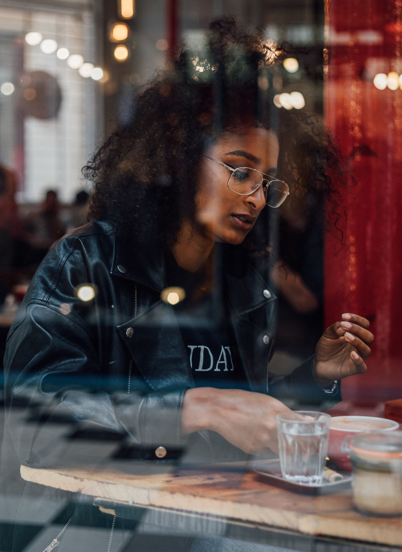 Coffee, anyone? young adult one person sunglasses restaurant real people Fashion beautiful woman front view table young women leisure activity Sitting cafe indoors illuminated lifestyles women eyeglasses portrait EyeEm Best Shots EyeEmNewHere canonphotography modelling Coffee Shop Fresh on Market 2017