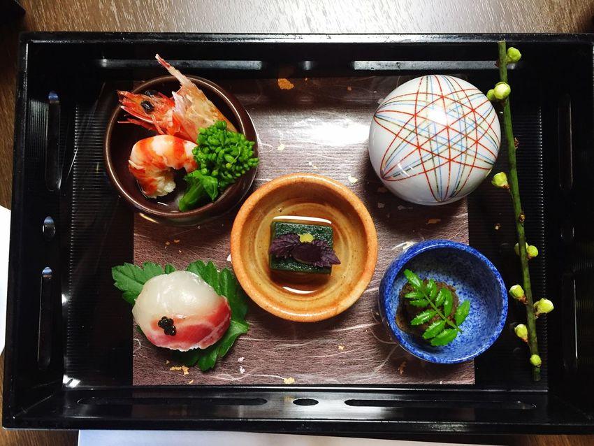 menu1 えびのうまに よもぎ豆腐 鯛の姫寿司 キャビアのせ Tasty😋 絶品 モリタ屋
