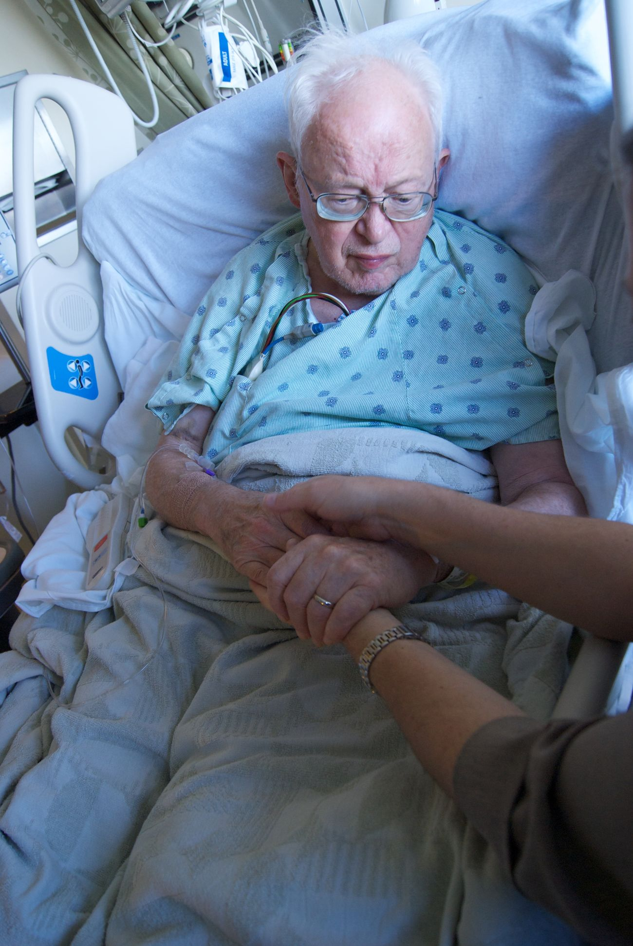 Visiting my Grandfather in the hospital Aged Alone Believe Blue Colors Connection Death Emotions Family Family❤ Gray Hair Hands Health Holding Holding Hands Hospital Indoors  Life Lifestyles Old San Francisco Senior Adult Soon Strength Weak