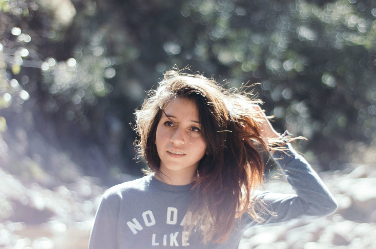 Beautiful stock photos of portrait, 16-17 Years, Brown Hair, Casual Clothing, Caucasian Ethnicity