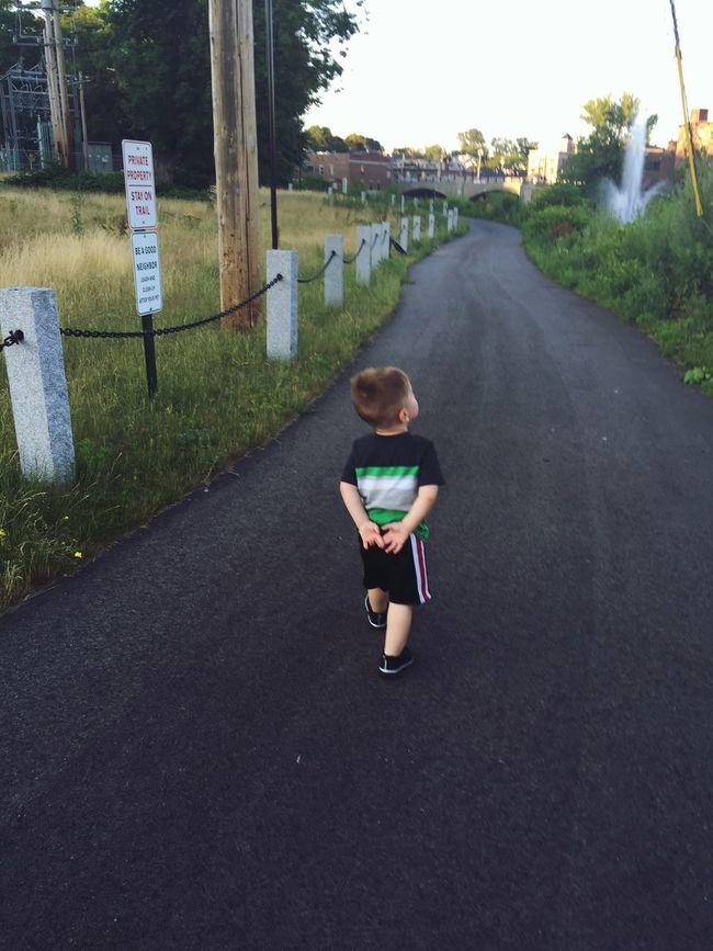 My grandson (age 2) being the independent little man. Cute Kids Boy Childhood Child Independent  Streetphotography Riverwalk Evening Walk Grandson